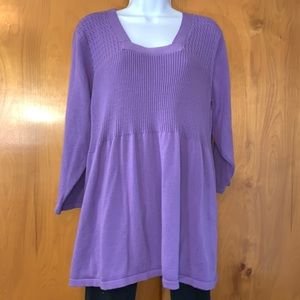 Avenue purple 3/4 sleeve cotton pullover sweater